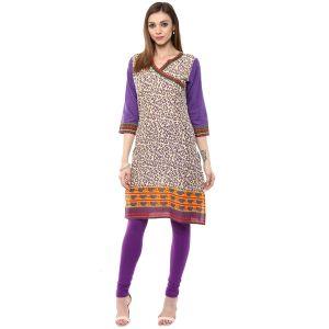 Buy Rangeelo Rajasthan Women's Jaipur Printed Straight Cotton Kurti_rar145purple online