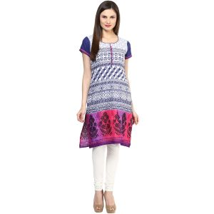 Buy Rangeelo Rajasthan Women's Jaipur Printed Straight Cotton Kurti_rar147blue online