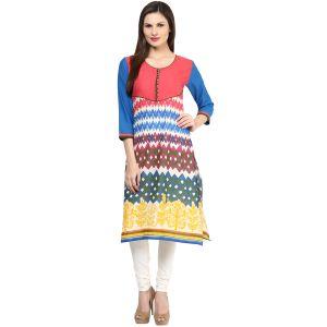 Buy Rangeelo Rajasthan Women's Jaipur Printed Straight Cotton Kurti_rar150orange online