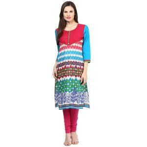 Buy Rangeelo Rajasthan Women's Jaipur Printed Straight Cotton Kurti_rar150pink online