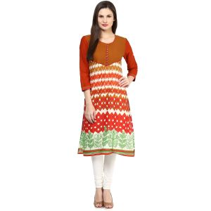 Buy Rangeelo Rajasthan Women's Jaipur Printed Straight Cotton Kurti_rar150yellow online