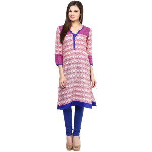 Buy Rangeelo Rajasthan Women's Jaipur Printed Straight Cotton Kurti_rar151purple online