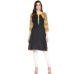 Buy Rangeelo Rajasthan Women's Jaipur Printed Straight Cotton Kurti_rar152yellow online