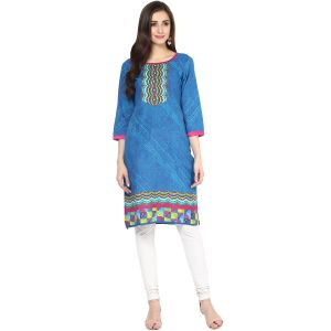 Buy Rangeelo Rajasthan Women's Jaipur Printed Straight Cotton Kurti_rar153blue online
