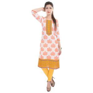Buy Rangeelo Rajasthan Women's Jaipur Printed Straight Cotton Kurti_rar54orange online