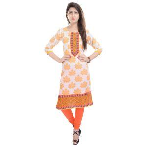 Buy Rangeelo Rajasthan Women's Jaipur Printed Straight Cotton Kurti_rar54yellow online