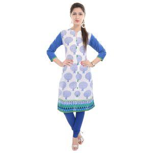 Buy Rangeelo Rajasthan Women's Jaipur Printed Straight Cotton Kurti_rar68blue online