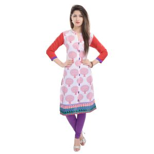 Buy Rangeelo Rajasthan Women's Jaipur Printed Straight Cotton Kurti_rar68red online