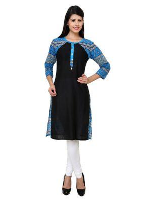 Buy Rangeelo Rajasthan Women's Jaipur Printed Straight Cotton Kurti_rar729blue online