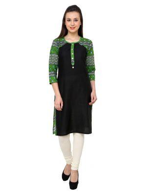 Buy Rangeelo Rajasthan Women's Jaipur Printed Straight Cotton Kurti_rar729green online