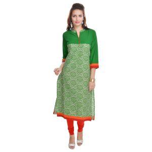 Buy Rangeelo Rajasthan Women's Jaipur Printed Straight Cotton Kurti_rar74green online