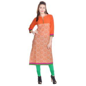 Buy Rangeelo Rajasthan Women's Jaipur Printed Straight Cotton Kurti_rar74orange online