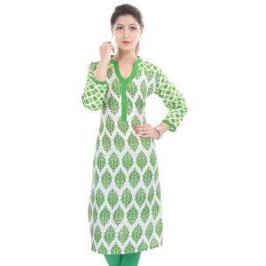 Buy Rangeelo Rajasthan Women's Jaipur Printed Straight Cotton Kurti_rar80green online