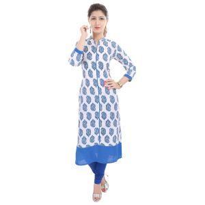Buy Rangeelo Rajasthan Women's Jaipur Printed Straight Cotton Kurti_rar85blue online