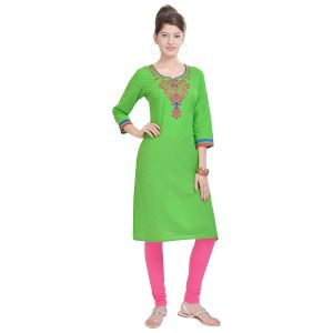 Buy Rangeelo Rajasthan Women's Jaipur Embroidered Straight Cotton Kurti_rar9002green online