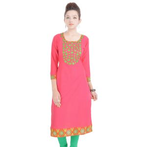 Buy Rangeelo Rajasthan Women's Jaipur Embroidered Straight Cotton Kurti_rar9004pink online