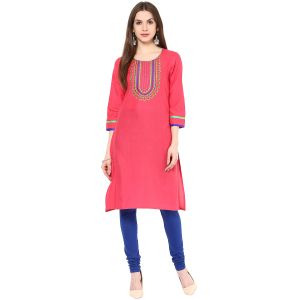 Buy Rangeelo Rajasthan Women's Jaipur Embroidered Straight Cotton Kurti_rar9005pink online
