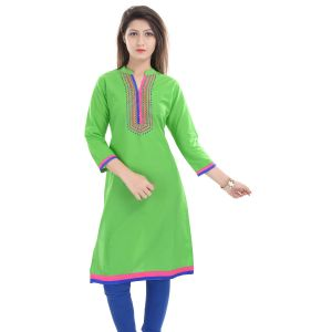 Buy Rangeelo Rajasthan Women's Jaipur Embroidered Straight Cotton Kurti_rar9006green online