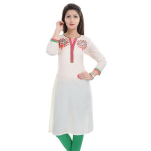 Buy Rangeelo Rajasthan Women's Jaipur Embroidered Straight Cotton Kurti_rar9007orange online
