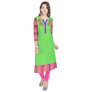 Buy Rangeelo Rajasthan Women's Jaipur Embroidered Straight Cotton Kurti_rar9008green online