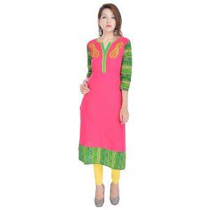 Buy Rangeelo Rajasthan Women's Jaipur Embroidered Straight Cotton Kurti_rar9008pink online