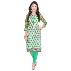 Buy Rangeelo Rajasthan Women's Jaipur Printed Straight Cotton Kurti_rar9015green online