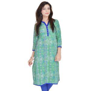 Buy Rangeelo Rajasthan Women's Jaipur Printed Straight Cotton Kurti_rar9017green online