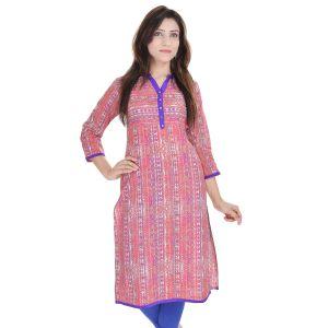 Buy Rangeelo Rajasthan Women's Jaipur Printed Straight Cotton Kurti_rar9017pink online