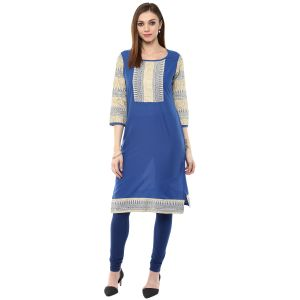 Buy Rangeelo Rajasthan Women's Jaipur Printed Straight Cotton Kurti_rar9025blue online