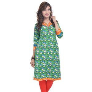Buy Rangeelo Rajasthan Women's Jaipur Printed Straight Cotton Kurti_rar9028green online