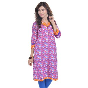 Buy Rangeelo Rajasthan Women's Jaipur Printed Straight Cotton Kurti_rar9028purple online