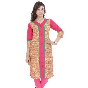 Buy Rangeelo Rajasthan Women's Jaipur Printed Straight Cotton Kurti_rar9037pink online