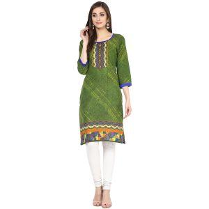 Buy Rangeelo Rajasthan Women's Jaipur Printed Straight Cotton Kurti_rar153green online
