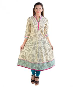 Buy Prakhya Jaipur Printed Womens Long Anarkali Blue Cotton Kurti online