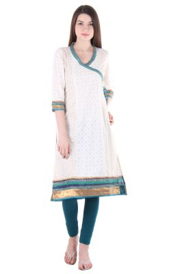 Buy Prakhya Jaipur Printed Womens Long Straight Blue Cotton Kurti online