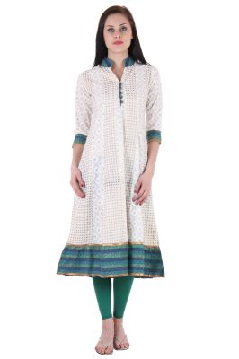 Buy Prakhya Jaipur Printed Womens Long Anarkali Blue Cotton Kurti (code - Sw567blue) online