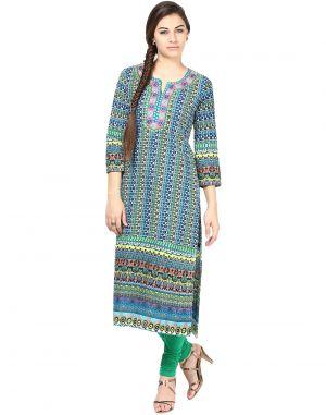 Buy Prakhya Jaipur Printed Womens Long Straight Dark Blue Cotton Kurti (code - Sw595darkblue) online