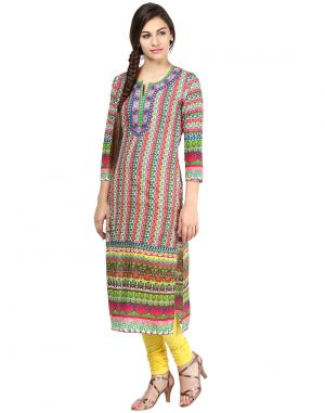 Buy Prakhya Jaipur Printed Womens Long Straight Red Cotton Kurti (code - Sw595red) online