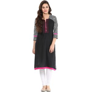 Buy Prakhya Jaipur Printed Womens Long Straight Black-pink Cotton Kurti (code - Sw642blackpink) online