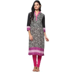 Buy Prakhya Jaipur Printed Womens Long Straight Black-Pink Cotton Kurti online