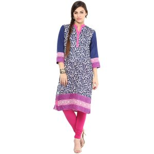 Buy Prakhya Jaipur Printed Womens Long Straight Purple Cotton Kurti (code - Sw659purple) online