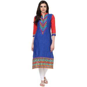 Buy Prakhya Jaipur Printed Womens Long Straight Blue Cotton Kurti (code - Sw668blue) online