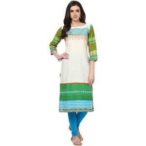 Buy Prakhya Jaipur Embroidered Womens Long Straight Blue Cotton Kurti (code - Sw672blue) online