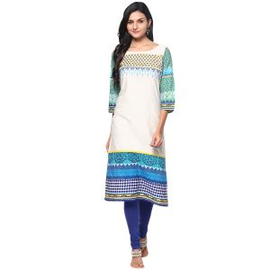 Buy Prakhya Jaipur Embroidered Womens Long Straight Dark Blue Cotton Kurti (code - Sw672darkblue) online