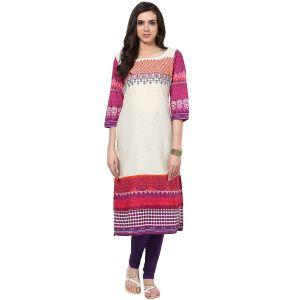 Buy Prakhya Jaipur Embroidered Womens Long Straight Pink Cotton Kurti (code - Sw672pink) online