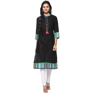 Buy Prakhya Jaipur Solid Womens Long Straight Green Cotton Kurti (code - Sw693agreen) online