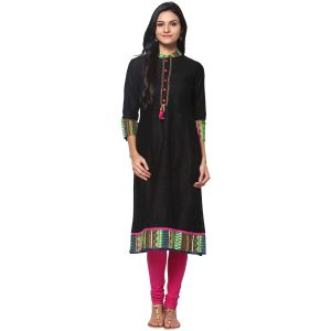 Buy Prakhya Jaipur Solid Womens Long Straight Pink Cotton Kurti (code - Sw693apink) online