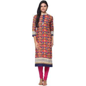 Buy Prakhya Jaipur Printed Womens Long Straight Blue Cotton Kurti (code - Sw699blue) online