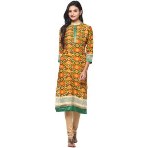 Buy Prakhya Jaipur Printed Womens Long Straight Green Cotton Kurti (code - Sw699green) online