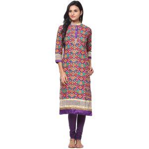 Buy Prakhya Jaipur Printed Womens Long Straight Purple Cotton Kurti (code - Sw699purple) online